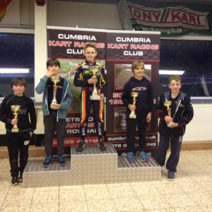 Dexter on the top spot of the podium at Rowrah